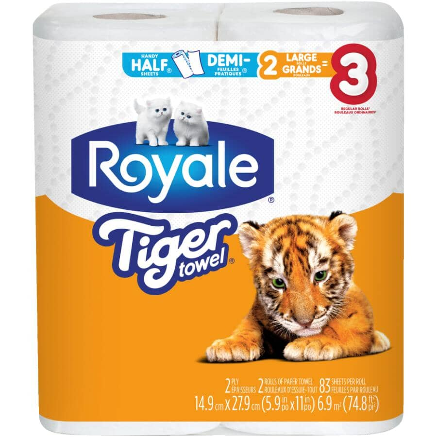 ROYALE:2 Ply Tiger Paper Towels - 83 Sheets, 2 Rolls