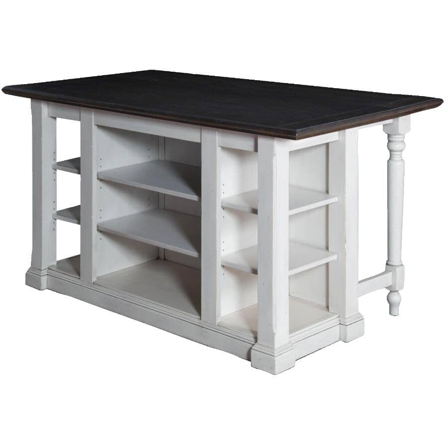 """SUNNY DESIGNS:Carriage House Kitchen Island with Drop Leaf - White Base & Brown Top, 71.5"""""""