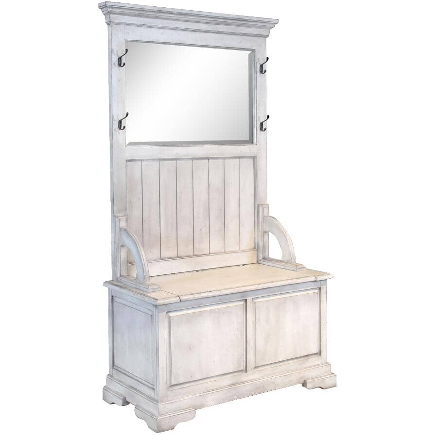 SUNNY DESIGNS:Westwood White Finish Hall Bench, with Hooks