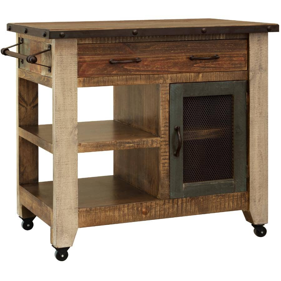 """IFD INTERNATIONAL FURNITURE DIRECT:Antique Kitchen Island - Distressed Brown with Accent Colours, 39.25"""""""
