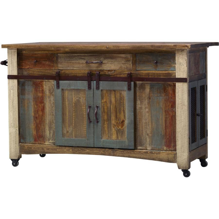 """IFD INTERNATIONAL FURNITURE DIRECT:Antique Kitchen Island - Distressed Brown with Accent Colours, 59.75"""""""