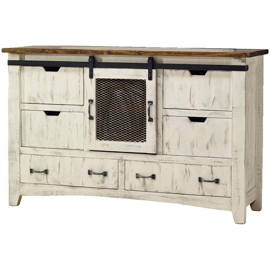 IFD INTERNATIONAL FURNITURE DIRECT:6 Drawer White Pueblo Dresser