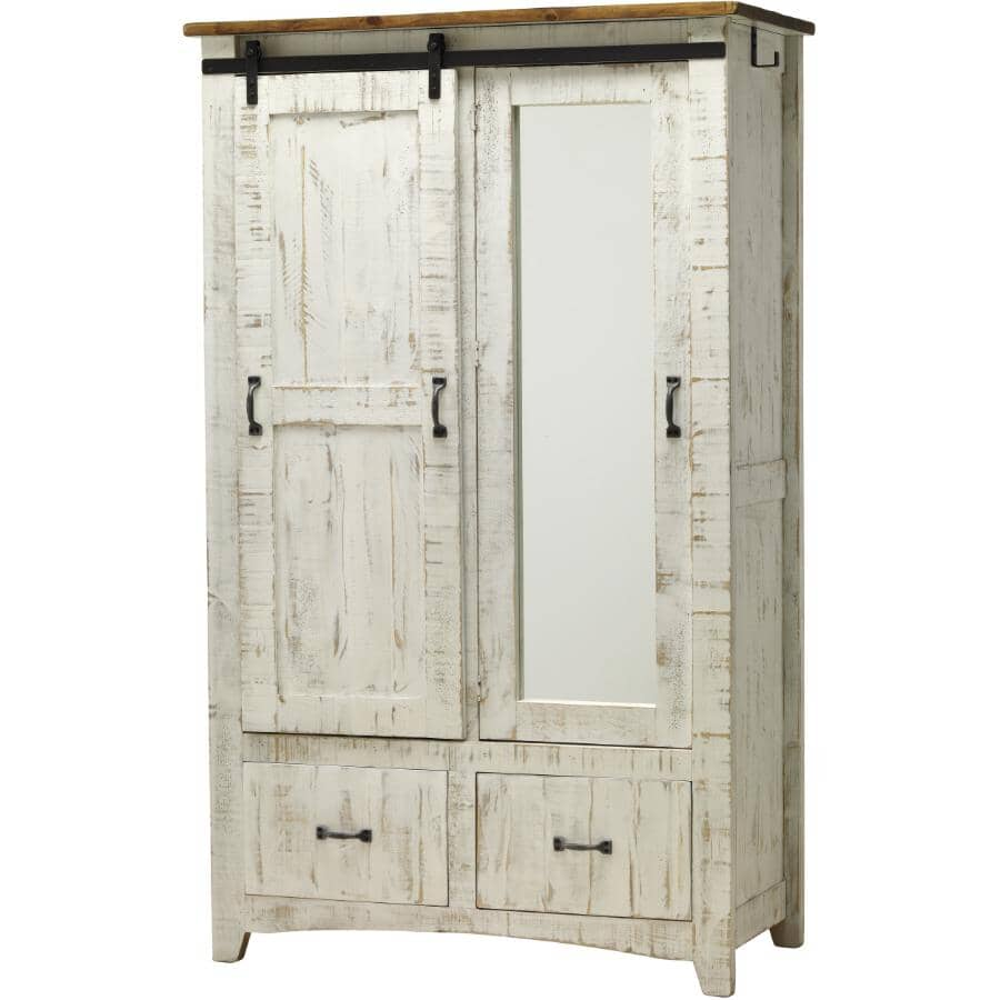 IFD INTERNATIONAL FURNITURE DIRECT:2 Door White Pueblo Armoire, with Mirror and hanging rod
