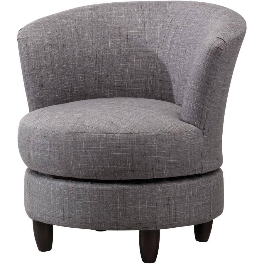 BEST HOME FURNISHINGS:Palmona Grey Swivel Chair, with Espresso Legs