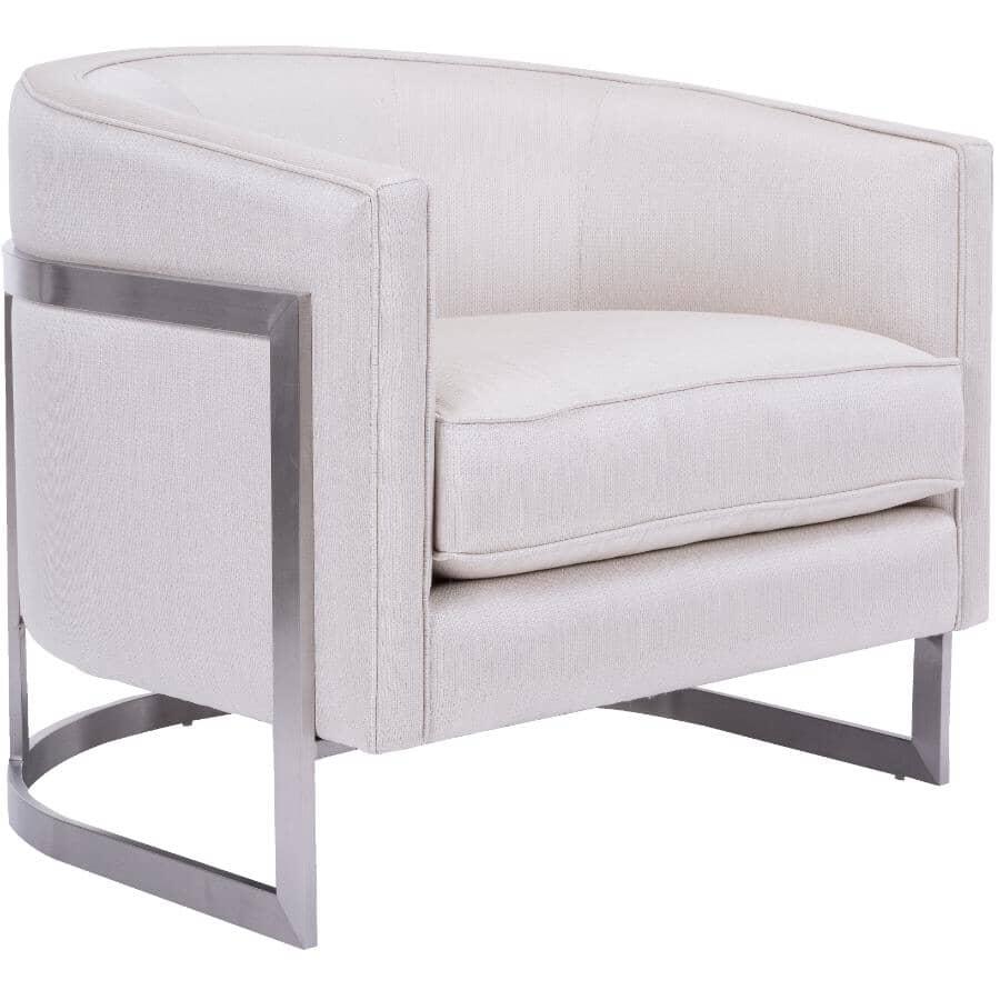 DECOR-REST FURNITURE:Pewter Metal Effie Ivory Chair