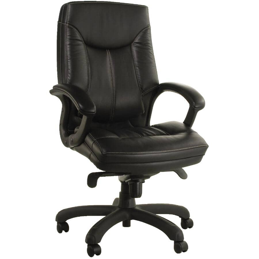 CANERGO:Black Leather Office Chair, with Lumbar Support