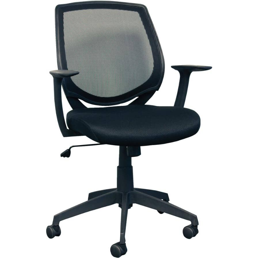 CANERGO:Black Mesh Low Back Office Chair, with Upholstered Seat