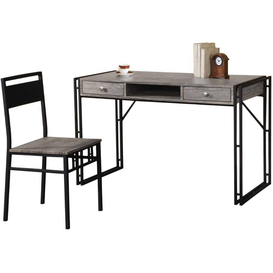 TITUS:Contemporary Desk & Chair Set - Distressed Grey & Charcoal