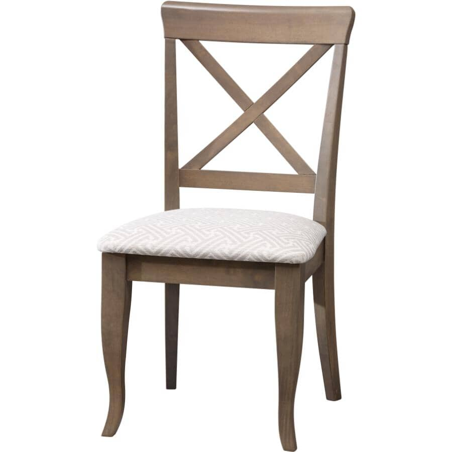 CANADEL:Grey X-Back Wood Side Chair, with Sunbrella Upholstered Seat