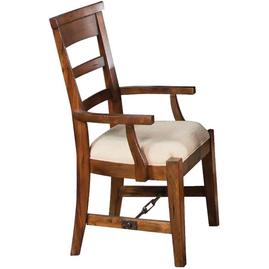SUNNY DESIGNS:Vintage Mocha Tuscany Wood Arm Chair, with Cushion Seat
