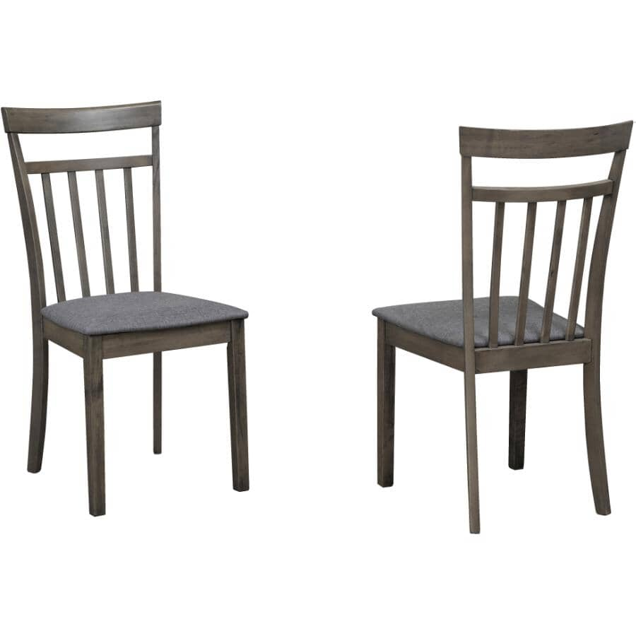 TITUS:2 Pack Grey Wood Side Chairs, with Upholstered Linen Seat