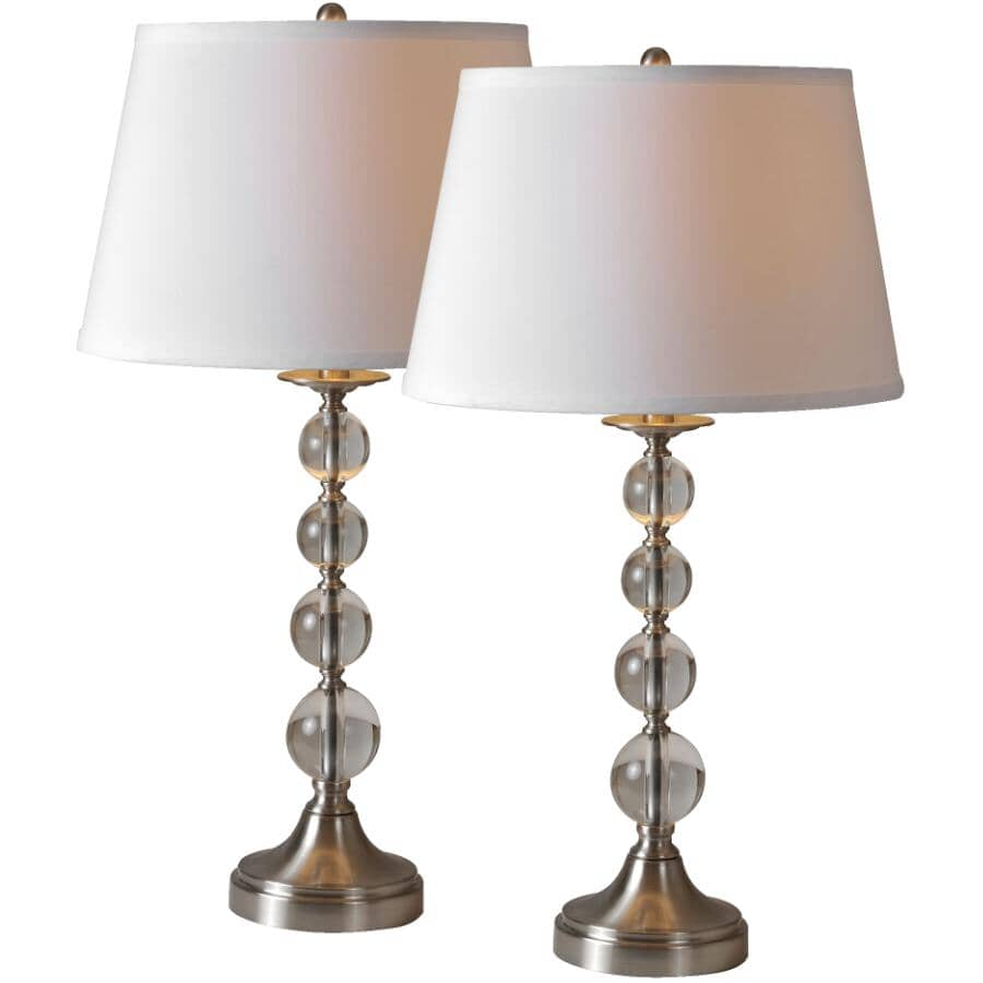 RENWIL:2 Pack Venezia Satin Nickel Table Lamps, with Off-White Linen Shades