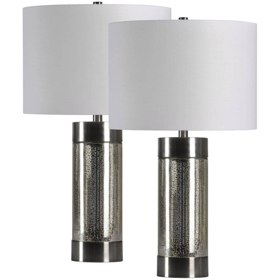 RENWIL:Leonora Antique Mercury & Brushed Nickel Table Lamps - with White Shades, 2 Pack