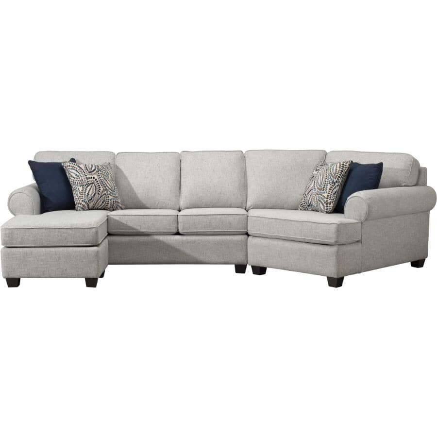 DECOR-REST FURNITURE:Sectional Sofa - with Chaise, Victoria Grey