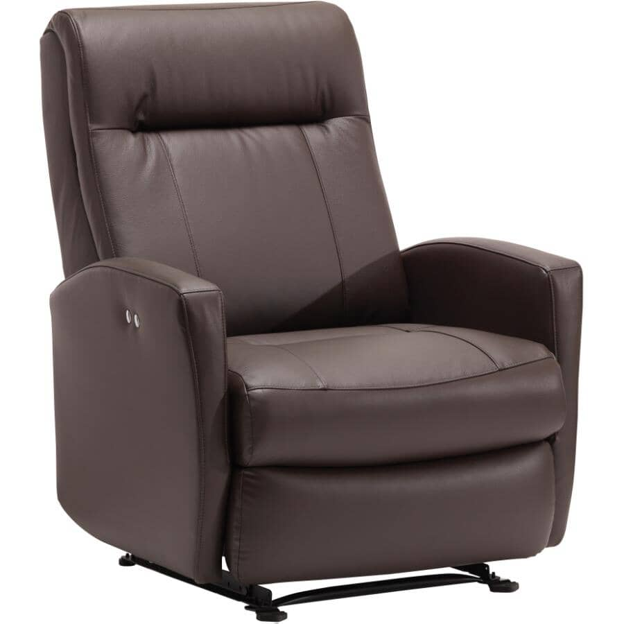 BEST HOME FURNISHINGS:Costilla Leather Match Power Recliner - Chocolate