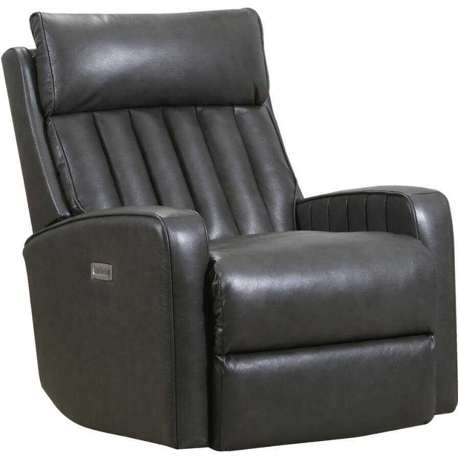 LANE:Jennings Leather Match Power Recliner - Charcoal