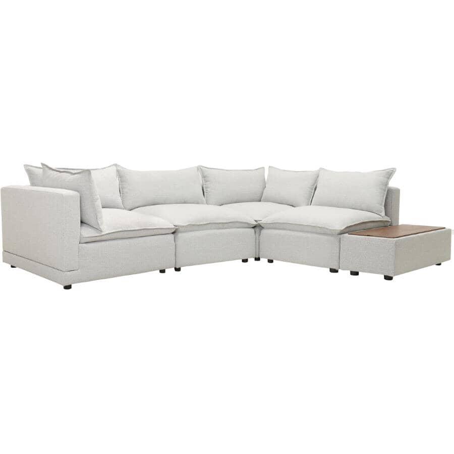 STYLUS:Fissle 5 Piece Sectional Sofa - with Ottoman, Yukon Grey