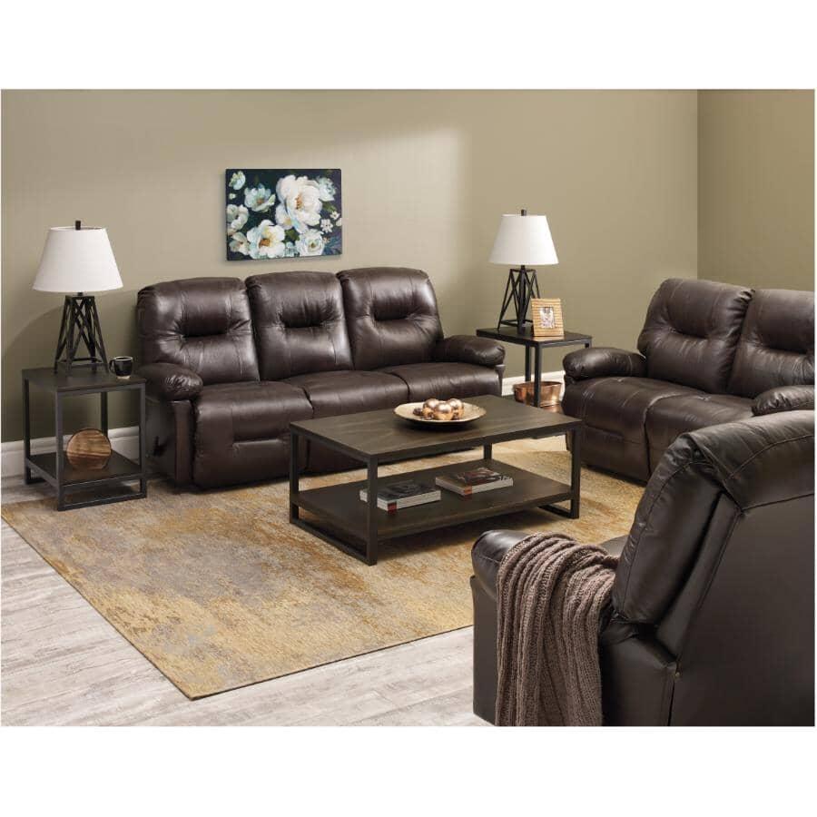 BEST HOME FURNISHINGS:Zaynah Walnut Leather Match Reclining Sofa