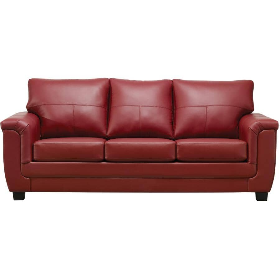 AMAN FURNITURE:Madras Crimson Leather Match Sofa