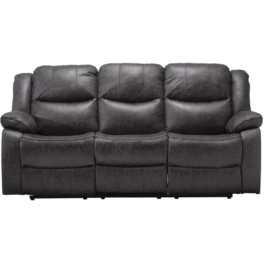 MAZIN FURNITURE:Polished Grey Klaus Power Motion Recliner Sofa