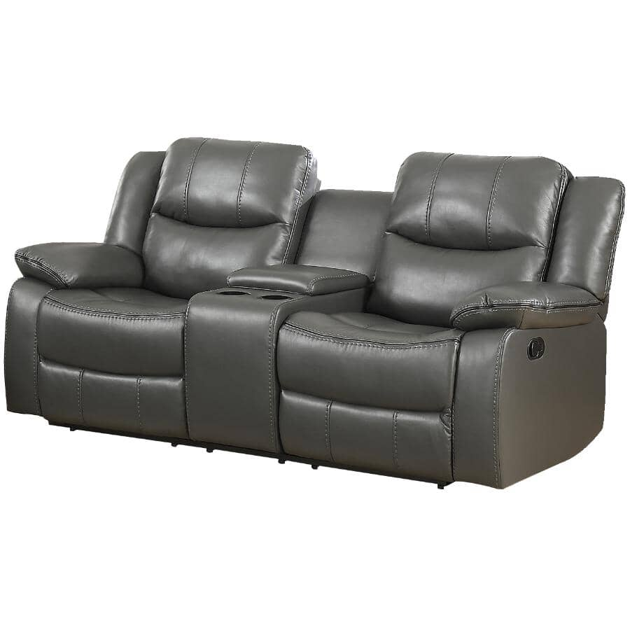 MAZIN FURNITURE:Motion Recliner Loveseat - with Centre Console, Grey