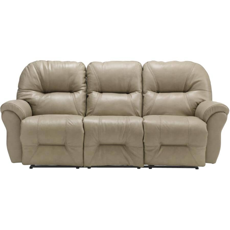 BEST HOME FURNISHINGS:Bodie Space Saver Leather Match Reclining Sofa - Elephant Grey