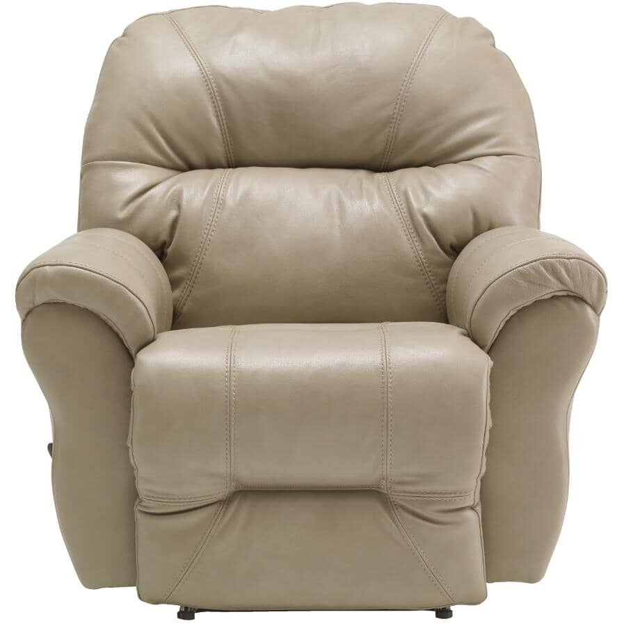BEST HOME FURNISHINGS:Bodie Space Saver Leather Match Recliner - Elephant Grey