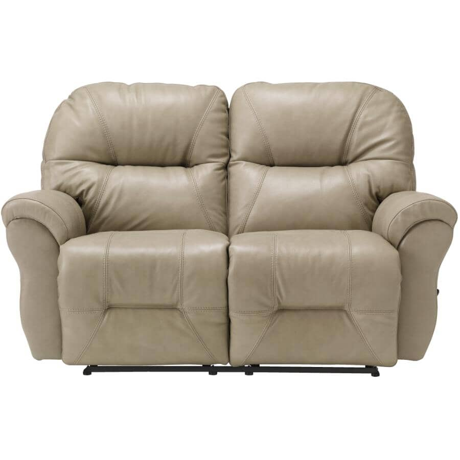 BEST HOME FURNISHINGS:Bodie Space Saver Leather Match Reclining Loveseat - Elephant Grey