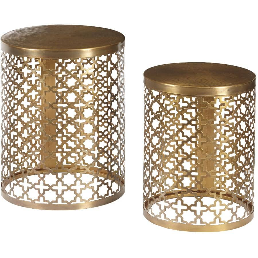 ACCENTRICS HOME:Set of 2 Perforated Metal Oval End Tables