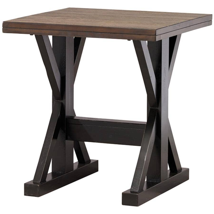 SIMMONS:Aged Ebony Square End Table, with X base