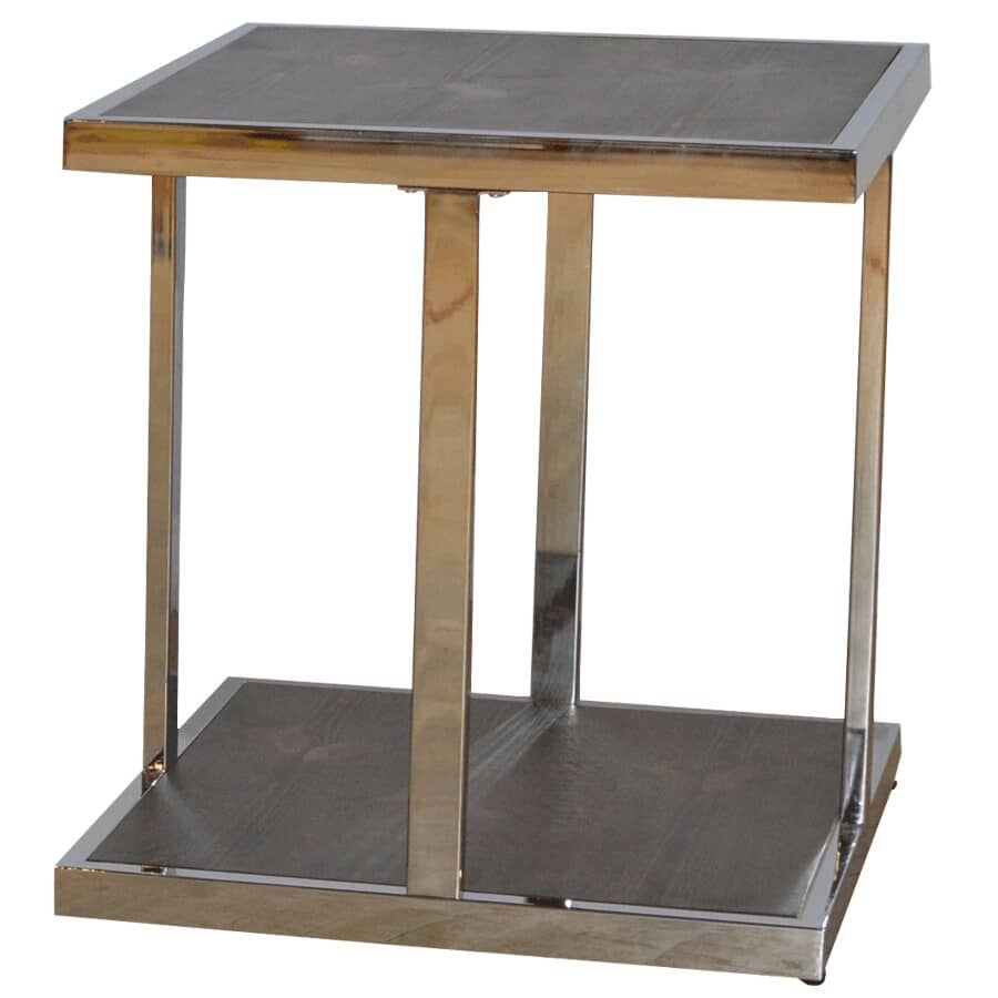 RUSTIQUE:Walnut Finish Metal/Wood Square End Table