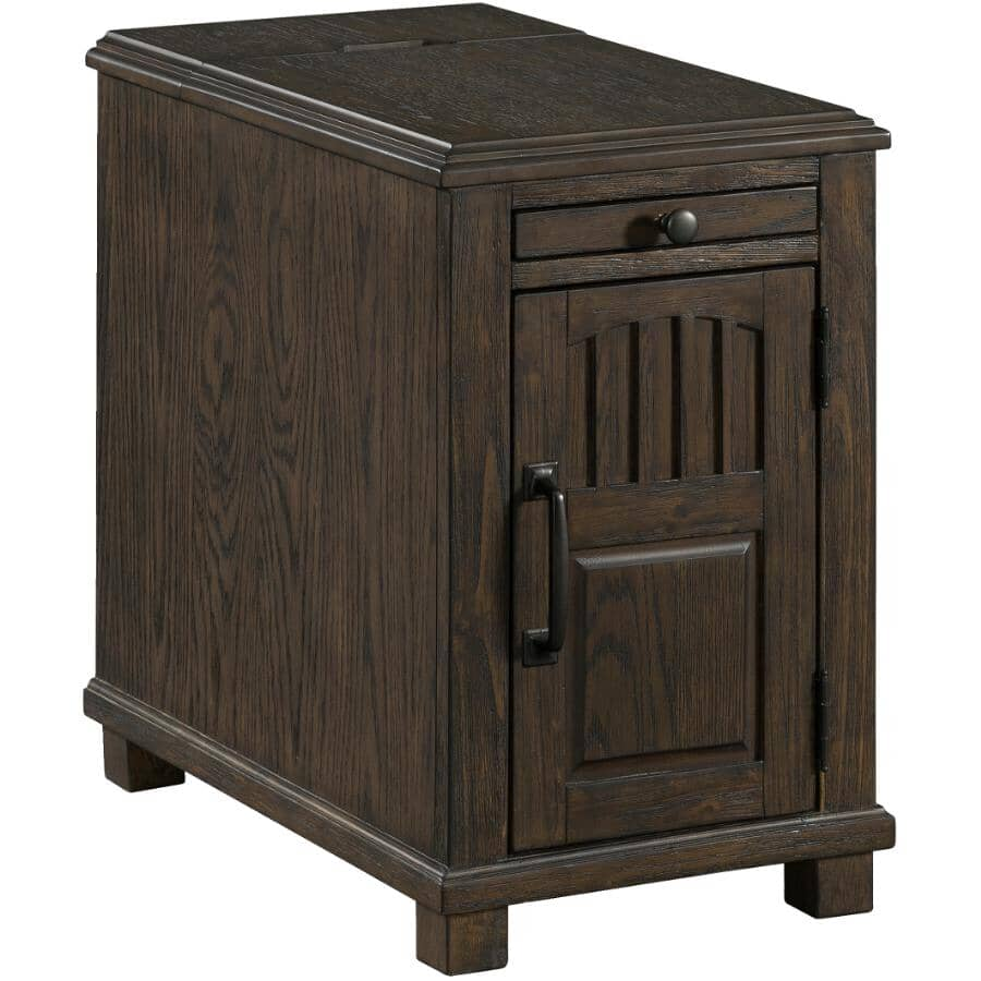 LANE:Walnut Rectangular Powered Chairside Table