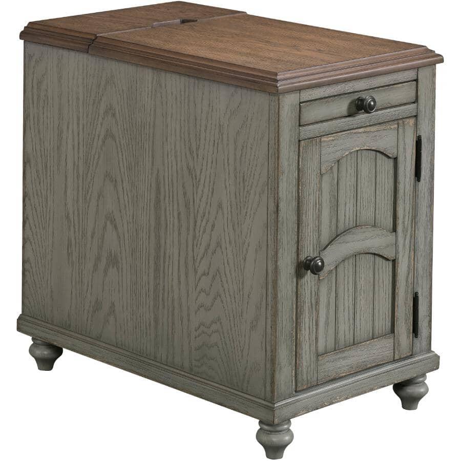 LANE:Antique Grey Rectangular Powered Chairside Table
