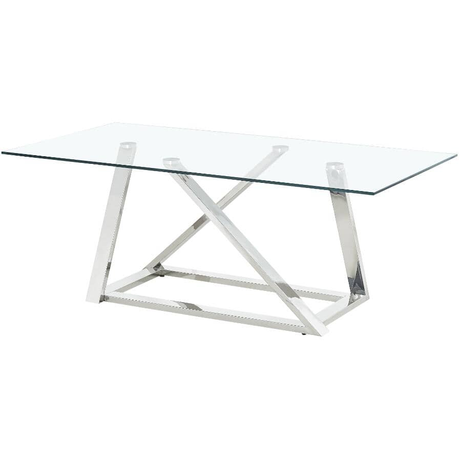 MAZIN FURNITURE:Verne Rectangular Coffee Table - Stainless Steel with Glass Top