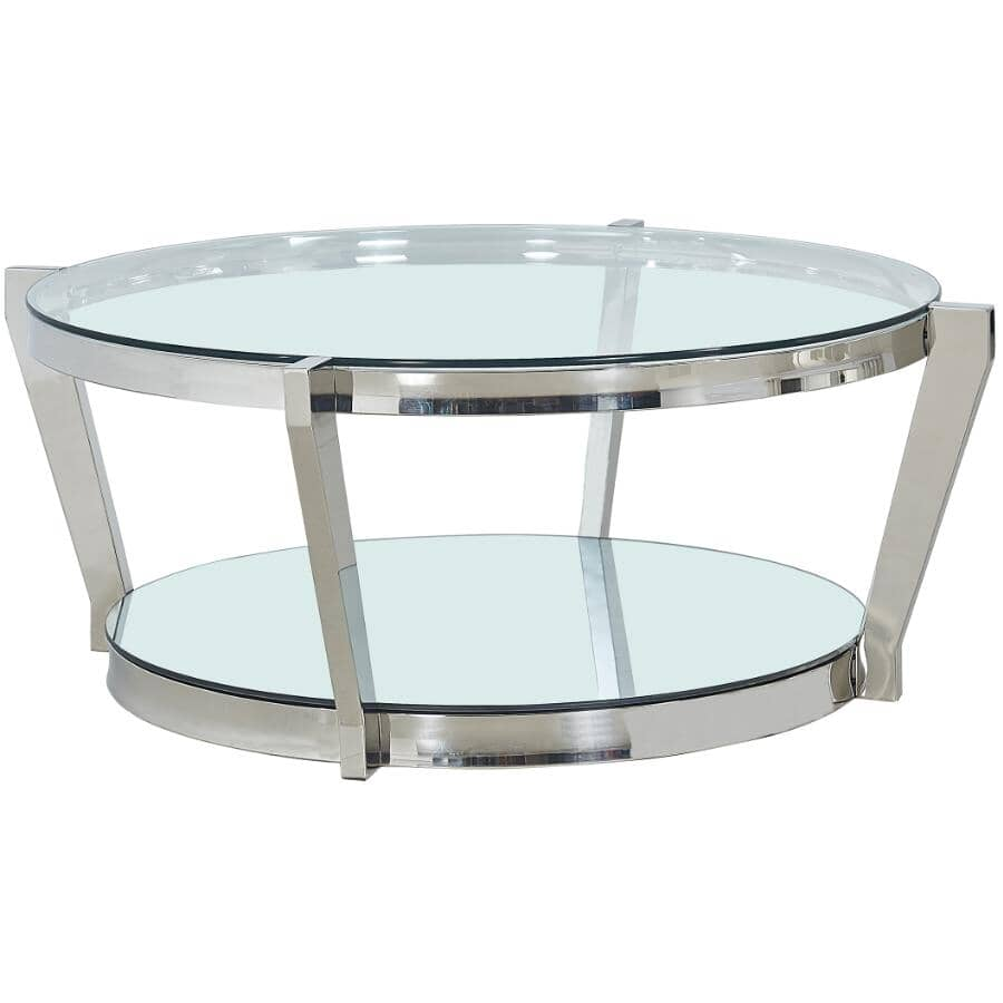 MAZIN FURNITURE:Paola Round Coffee Table - Stainless Steel Frame with Glass Top