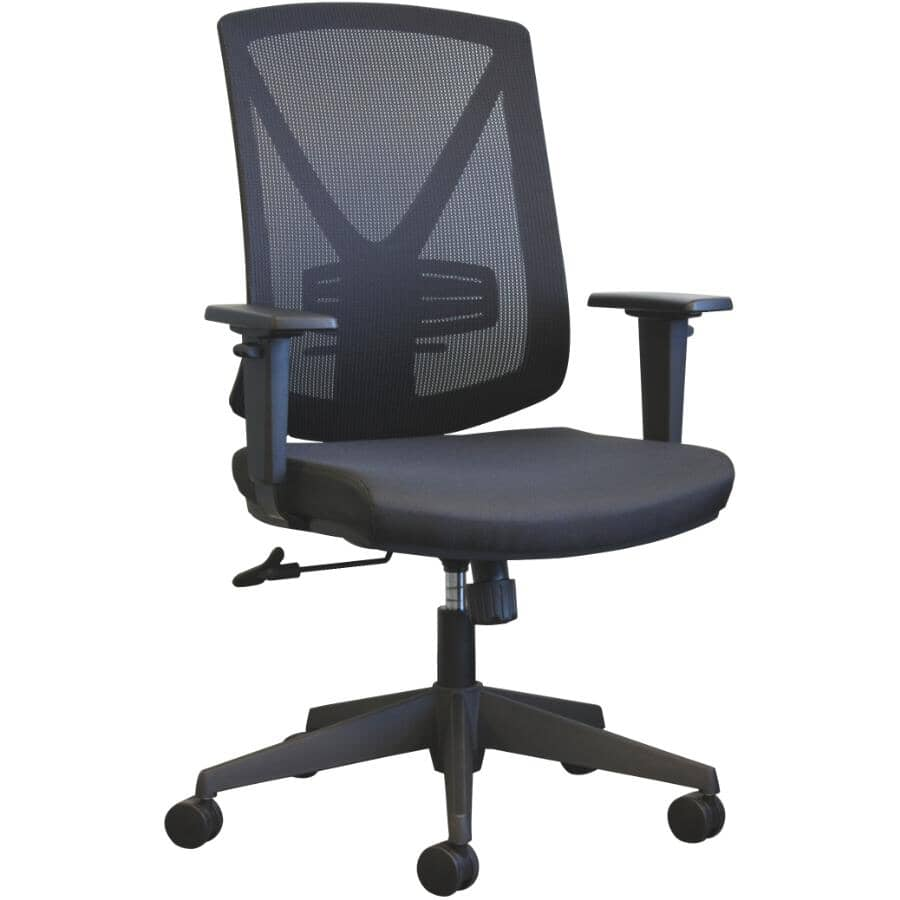 CANERGO:Black Mesh Fabric Office Chair, with Upholstered Seat