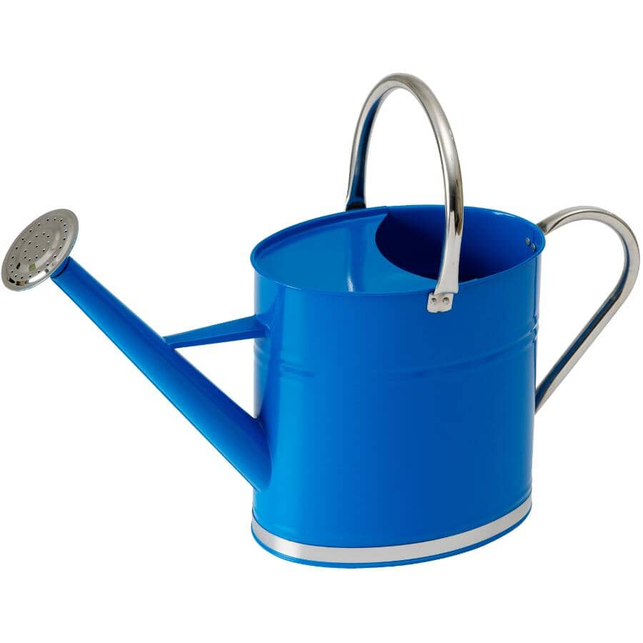 HOME GARDENER:6L Galvanized Watering Can, with Brightly Coloured Blue Body
