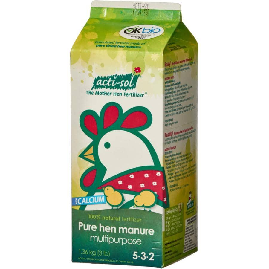 ACTI-SOL:1.36kg 5-3-2 Hen Manure All Purpose Fertilizer