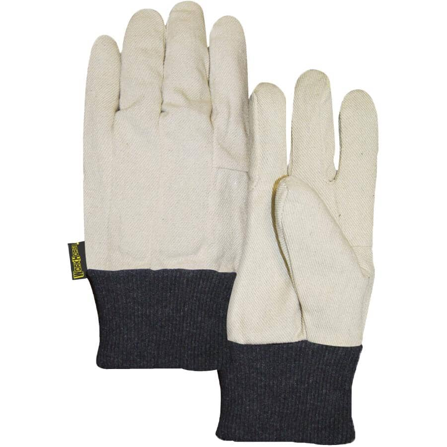 WORKHORSE:Men's 10 oz Cotton Work Gloves - with Knit Wrist, One Size, White