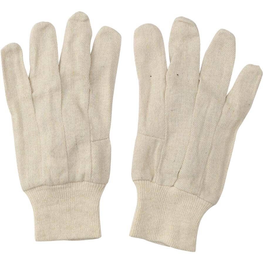 HOME:Men's 8 oz Cotton Work Gloves - with Knit Wrist, One Size, 3 Pairs