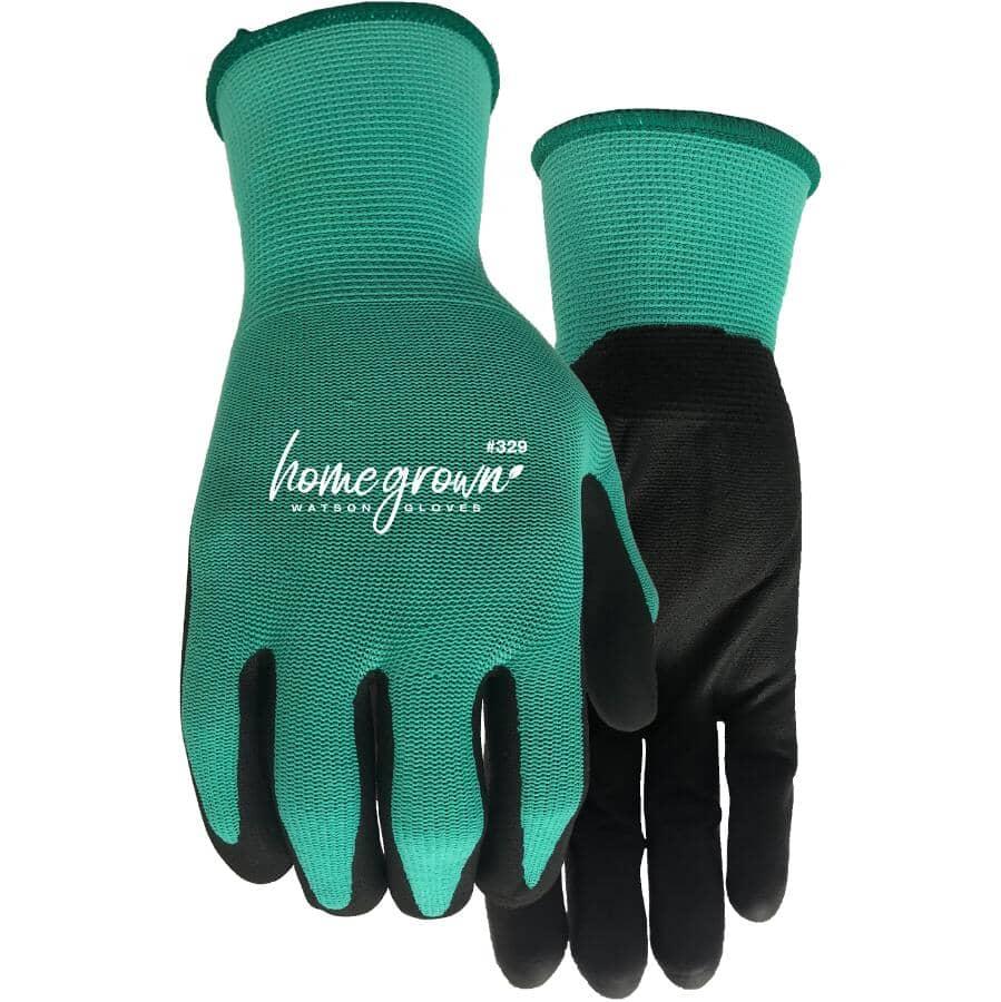 WATSON GLOVES:Ladies Jade Knit Garden Gloves - with Nitrile Coated Palms, Medium