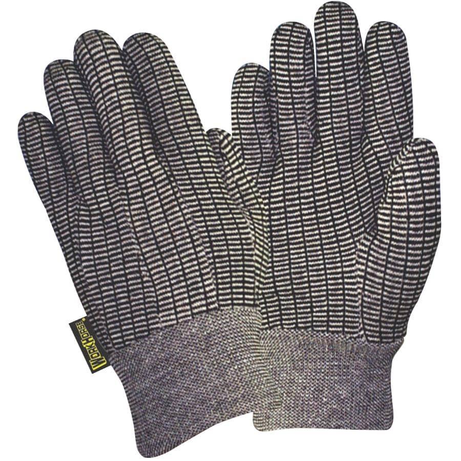 WORKHORSE:Men's Jersey Knit Work Gloves - One Size, Black & White