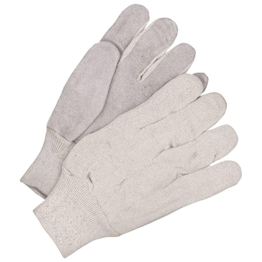 BOB DALE:Gants de travail en toile et en coton pour hommes avec paumes en cuir refendu, taille unique