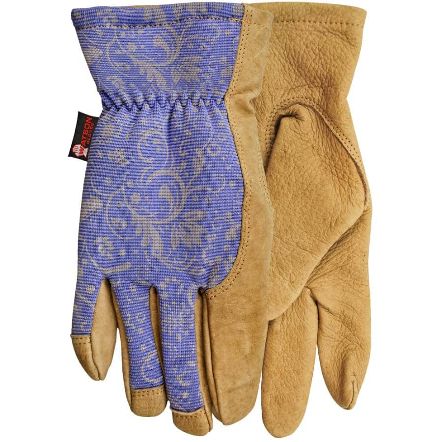 WATSON GLOVES:Ladies Leather Combo Garden Gloves - Large, Assorted Colours