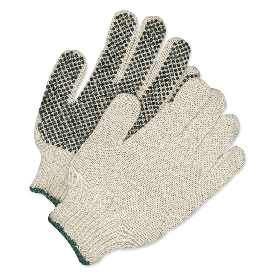 BOB DALE:Men's Polyester / Cotton Knit Work Gloves - with PVC Dot Palms, Large