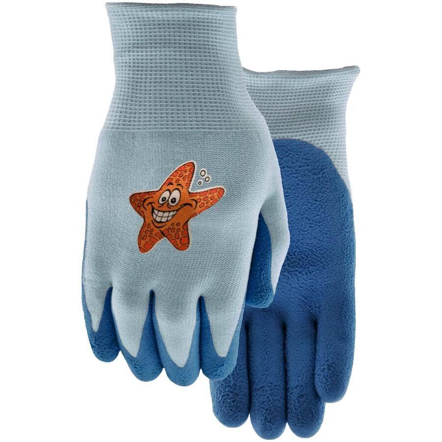 WATSON GLOVES:Kids Splish & Splash Knit / Latex Garden Gloves - Assorted Colours
