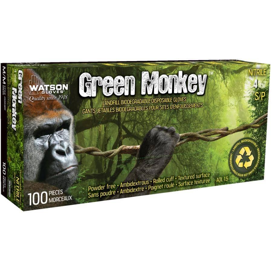 WATSON GLOVES:100 Pack Men's Medium Green Monkey Nitrile Disposable Gloves