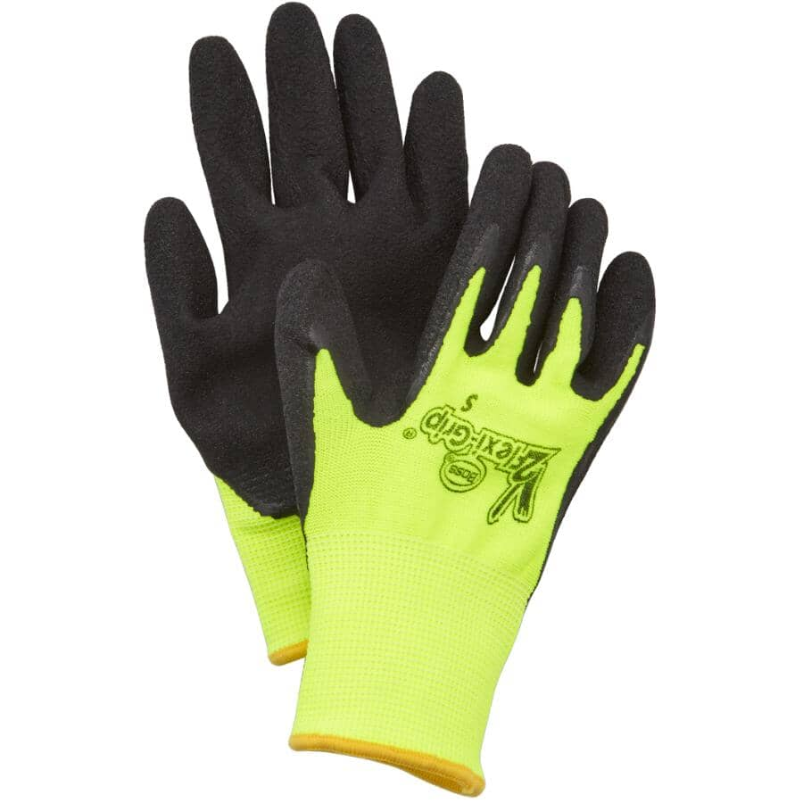BOSS:Ladies V2 High Visibility Polyester Work Gloves - with Latex Coated Palms, One Size