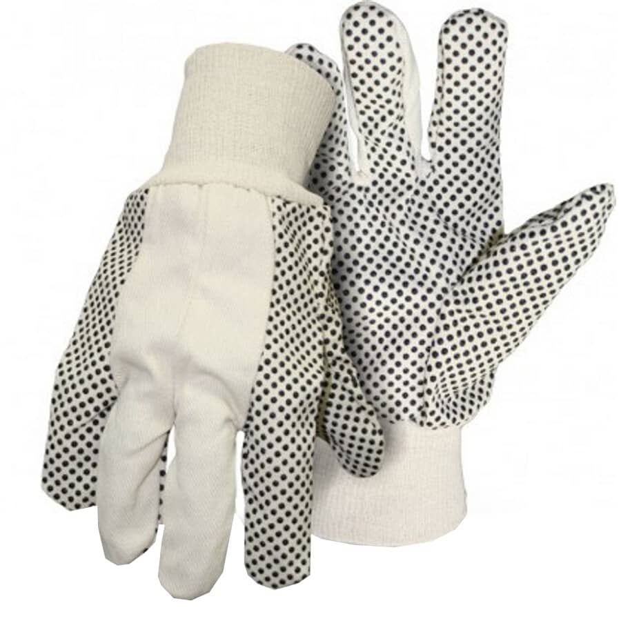 BOSS:Men's Polyester / Cotton Knit Work Gloves - with PVC Dot Palms & Fingers, Large