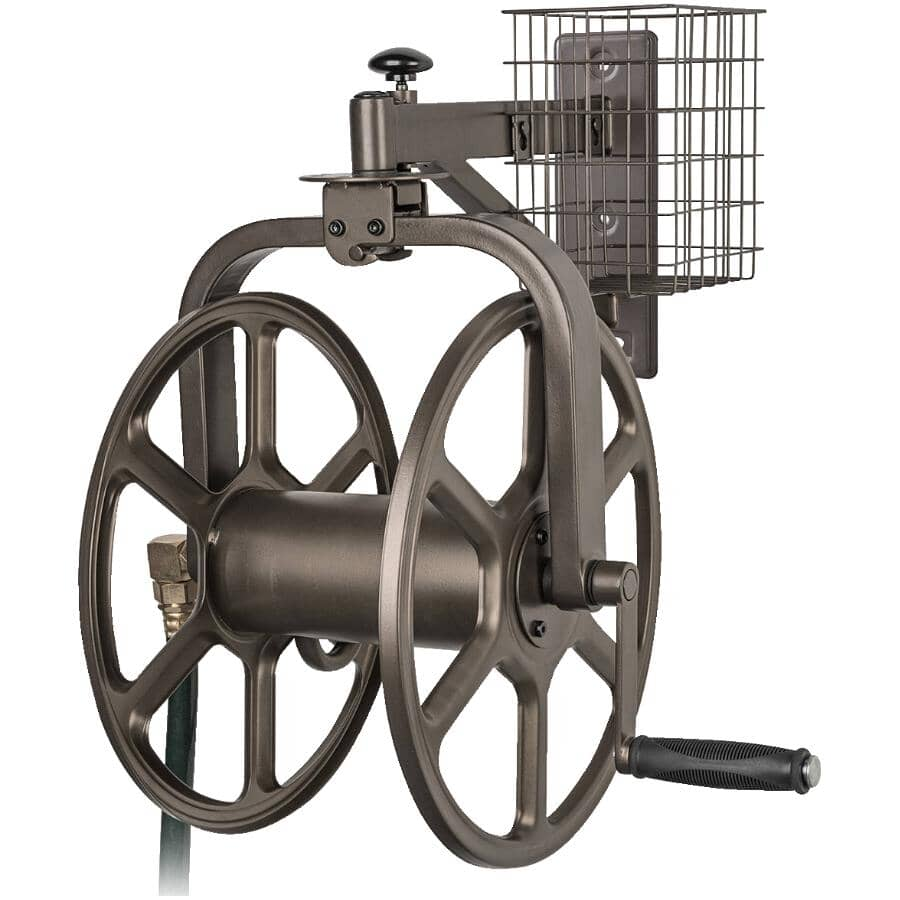 LIBERTY GARDEN:Single Arm Navigator Steel Wall Mount Hose Reel, with Rotating Carriage